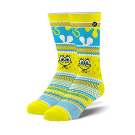 Spongebob Ugly Sweater Funny Winter Unisex Novelty Crew Socks