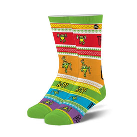 Teenage Mutant Ninja Turtles Ugly Sweater Funny Pop Culture Unisex Novelty Crew Socks