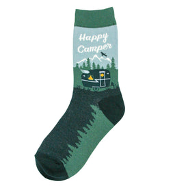 Happy Camper Funny Outdoors Womens Novelty Crew Socks
