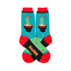 Ramen Funny Words Womens Novelty Crew Socks