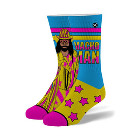 Macho Man Stars Funny Wrestling Unisex Novelty Crew Socks