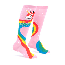 Rainbow Mane Funny Words Womens Novelty Knee High Socks