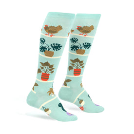 Hen and Chicks Funny Farm Animals Womens Novelty Knee High Socks