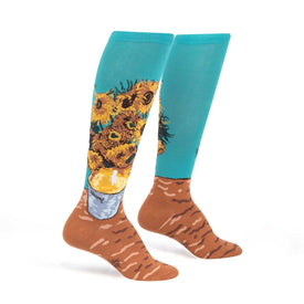Sunflowers Funny Van Gogh Womens Novelty Knee High Socks