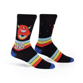 Stay Weird Funny Words Mens Novelty Crew Socks