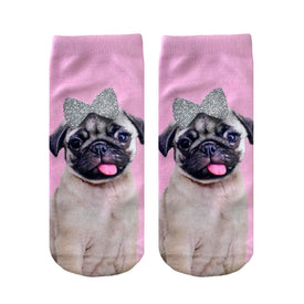 Pug with Bow Glitter Funny Pugs Womens Novelty Ankle Socks