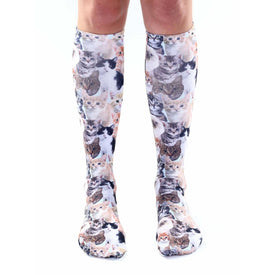Kitty All Over Funny Pets Womens Novelty Knee High Socks