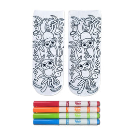 Crayola Color-In Monkey Craze Funny Wildlife Kids Novelty Ankle Socks