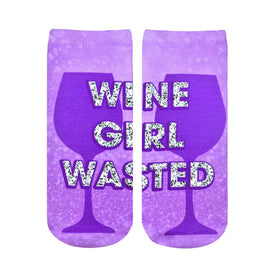 Wine Girl Wasted Funny Words Womens Novelty Ankle Socks