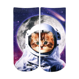 Astronaut Cat Funny Space Womens Novelty Ankle Socks