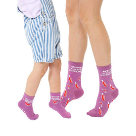 Wine Game Me And Mini Funny Words Kids Novelty Crew Socks