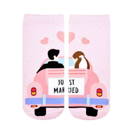 Just Married Funny Words Womens Novelty Ankle Socks