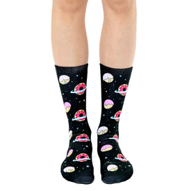 Galaxy Donut Funny Space Unisex Novelty Crew Socks