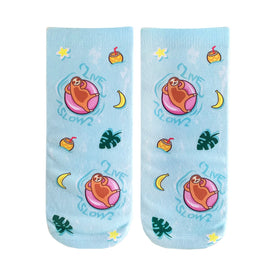 Pool Sloth Funny Wildlife Womens Novelty Ankle Socks