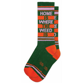 Home Is Where The Weed Is Funny Words Unisex Novelty Crew Socks