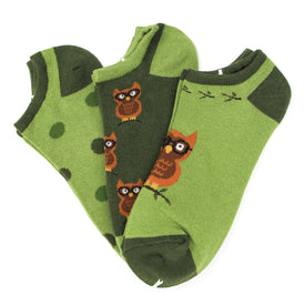 Owl 3 Pack Funny Wildlife Womens Novelty Ankle Socks