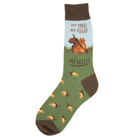 My Yard My Rules My Nuts! Funny Words Mens Novelty Crew Socks