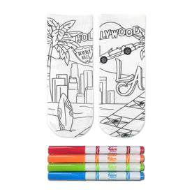 Crayola Color-In LA Dreaming Funny Summer Kids Novelty Ankle Socks