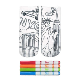 Crayola Color-In NY State Of Mind Funny Locations Kids Novelty Ankle Socks