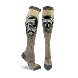 Raccoons' Den Funny Wildlife Womens Novelty Knee High Socks