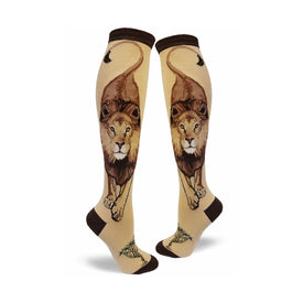 Boss Lion Funny Wildlife Womens Novelty Knee High Socks