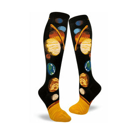 Solar System Funny Wide Calf Womens Novelty Knee High Socks