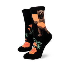 California Bear Hug Funny Wildlife Womens Novelty Crew Socks