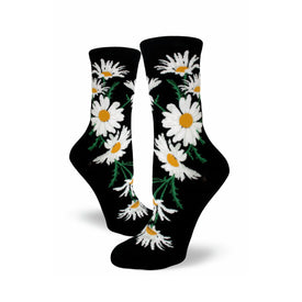 Crazy for Daisies Funny Outdoors Womens Novelty Crew Socks