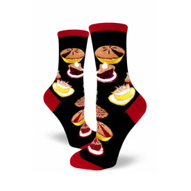 Pie Party Funny Thanksgiving Womens Novelty Crew Socks