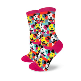 Pitbull Pop Art Funny Pets Womens Novelty Crew Socks