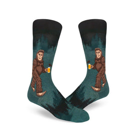 Sasquatch Loves Beer Funny Myths & Legends Mens Novelty Crew Socks