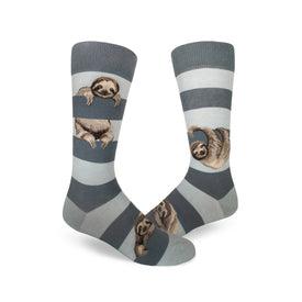 Sloth Stripe Funny Wildlife Mens Novelty Crew Socks
