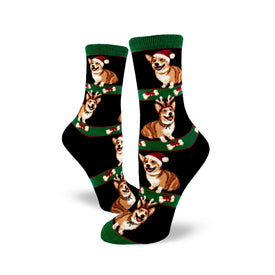 Corgi Christmas Funny Winter Womens Novelty Crew Socks