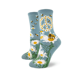 Give Bees A Chance Funny Wildlife Womens Novelty Crew Socks