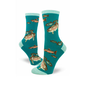 Trout Fishing Funny Wildlife Womens Novelty Crew Socks