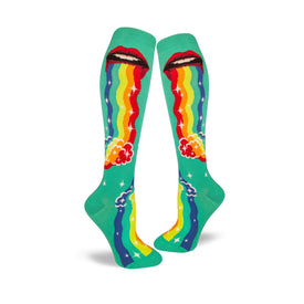 Puking Rainbows Funny Wide Calf Womens Novelty Knee High Socks