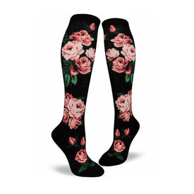 Romantic Rose Funny Wide Calf Womens Novelty Knee High Socks