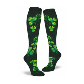 Shamrocks Funny Wide Calf Womens Novelty Knee High Socks
