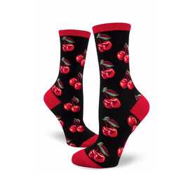 Cherries No Frills Funny Summer Womens Novelty Crew Socks