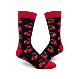 Cherries No Frills Funny Summer Mens Novelty Crew Socks