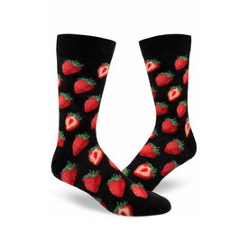 Sweet Strawberries Funny Summer Mens Novelty Crew Socks