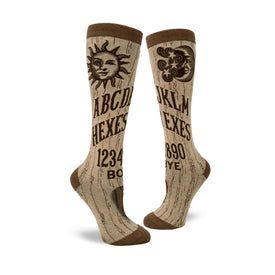 Hexes for Exes Funny Wide Calf Womens Novelty Knee High Socks