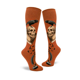 Nevermore Funny Wide Calf Womens Novelty Knee High Socks