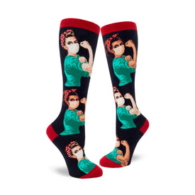 Rosie the Nurse Funny Wide Calf Womens Novelty Knee High Socks