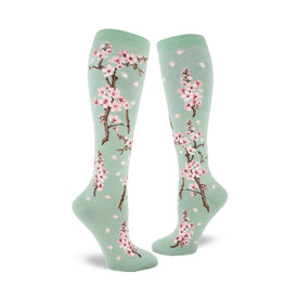 Cherry Blossom Funny Spring Womens Novelty Knee High Socks