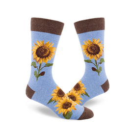 Sunflower Funny Spring Mens Novelty Crew Socks