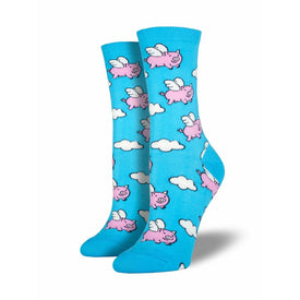 When Pigs Fly Funny Pigs Womens Novelty Crew Socks