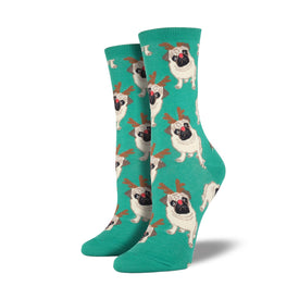 Antler Pug Funny Winter Womens Novelty Crew Socks