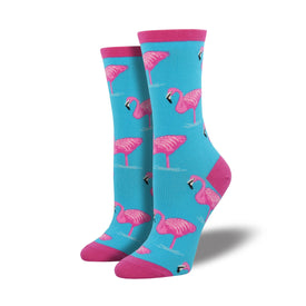 Flamingos Funny Wildlife Womens Novelty Crew Socks