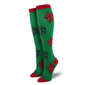 Christmas Bows Green Knee High Socks Funny Winter Womens Novelty Knee High Socks